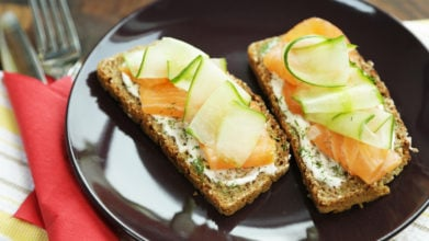 Open Face Salmon Sandwich with Dill Mayo