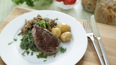Fillet Steak, Fried Mushrooms and Creamy Spinach